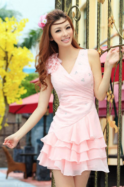 under 100 Tiered Pink short Chiffon Cocktail Dresses Shoulder with flower np-0240