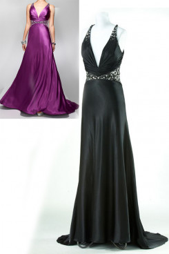 purple black Satin Deep V-Neck Evening Dresses with Sashes Crystal np-0148