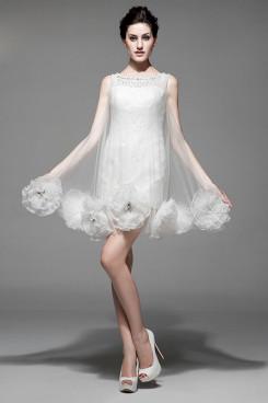 under 100 White Lace flower Vest Cocktail Dresses Unique nm-0191
