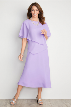 Mid-Calf Lilac Chiffon Mother of the bride dresses Custom-made nmo-478