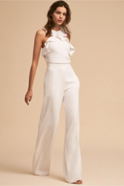 Little White Dresses Bridal Jumpsuits Ruffles Beach Wedding dress wps-136