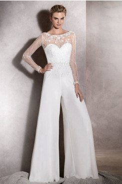 Long Sleeves Wedding Jumpsuit Hand Beading Prom Suits wps-215