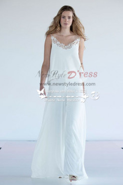 Lovely two piece Spaghetti wedding pants suit wida legs wps-021