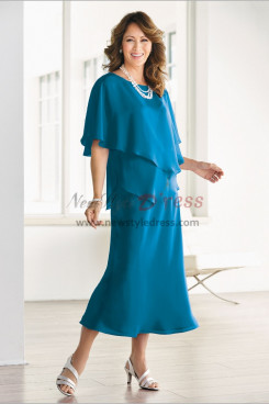 Mid-Calf Sea blue Chiffon Mother of the bride dresses Layered nmo-482