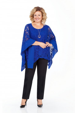 Modern 3PC Mother of the Bride Pant suits With Royal blue Cape Plus Size nmo-718-2