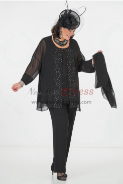 Modern Black Chiffon with Crystal Mother of the Bride pants suit dresses with shawl