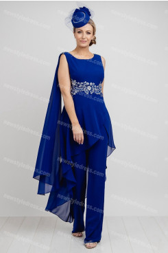Royal Blue Chiffon Mother of the bride outfits women's Jumpsuit nmo-688