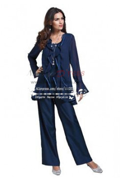 Mother of the bride pant suit Dark navy chiffon three piece outfit with ruffles