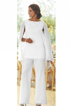Mother of the bride pant suit dress with Draped Cape Trouser set Custom-made nmo-448