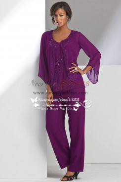 Mother of the bride pant suits Beaded Purple chiffon Pantset for Summer beach wedding  nmo-270