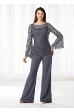 835b2e81e70b Charcoal Gray Mother of the bride pant suits dresses Lace Two piece pants  outfits nmo-