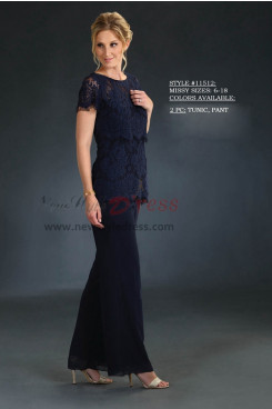 Mother of the bride pant suits Lace top and chiffon trousers nmo-421