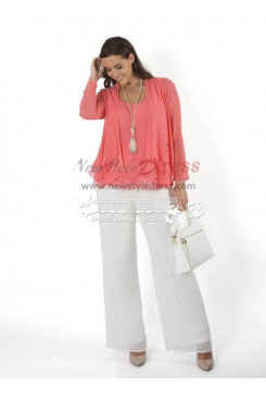 Mother of the bride pantsuit comfortable outfit Coral Top and white pants New arrival pantsuit nmo-222