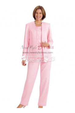 Mother of the bride pantsuit Pink Satin outfit for wedding nmo-237