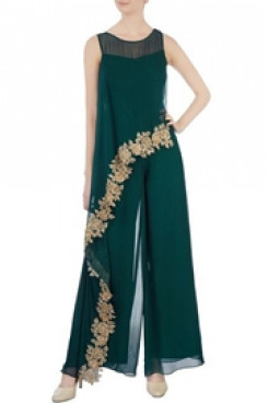 Mother of the bride pantsuits dresses Green chiffon jumpsuit nmo-506