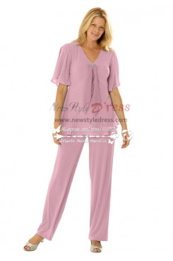 Mother of the bride Plus size pant suit Informal Pink outfit nmo-245