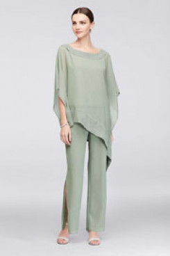 Mother of the bride Trousers set Sage chiffon pantsuit dresses Elastic waist  Custom-made Plus size nmo-430