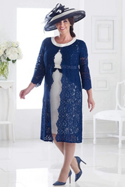 Navy and White 2PC outfits Plus size Mother of the bride dress with Lace Jacket NMO-629