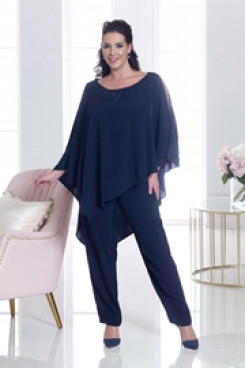 Navy Beaded chiffon pant suits for mother of the bride Wedding party trousers outfit nmo-552