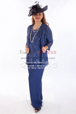 Navy Blue lace wedding outfits mother of bride pant suits with jacket Plus size Pantset New arrival nmo-271