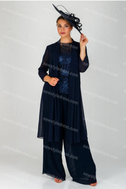 NAVY Mother of the bride Trousers outfit Accordion pleats pants suit nmo-689