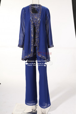 New arrival Royal blue Mother of the bride pant suits Top with Sequins Plus size MT001707