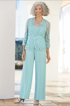 New style Elegant Mother of the bride pant suits dresses 3 PC outfit Aqua nmo-603
