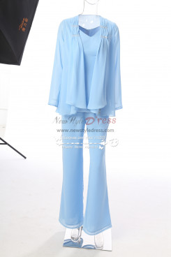 New style Sky blue Chiffon Mother of the bride pant suits 3PC outfit Trumpet Trousers Custom Plus size MT001703