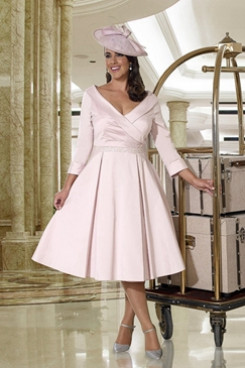 A-line Short Dress Pink Mother of the bride dresses NMO-646