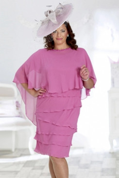 Fuchsia Mother of the bride Chiffon dress Plus size Knee-Length Dresses NMO-648