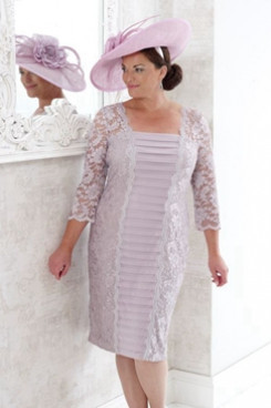 Knee-length Dreess Lace Plus size Mother of the bride dress NMO-650