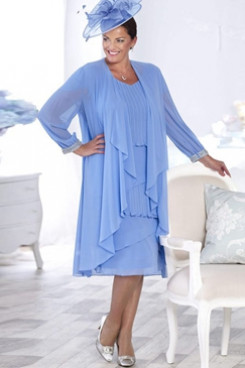Knee-Length Plus size Mother of the bride  dress with jacket Chiffon Dress NMO-651