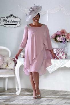 Plus size Mother of the bride Dresses Bean Paste chiffon Dresses NMO-652