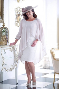 Knee-Length Plus size Mother of the bride dress with sleeves NMO-654