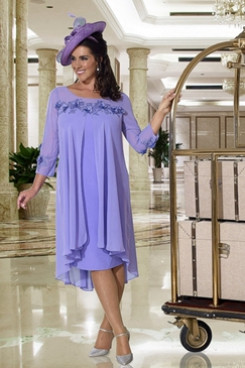 Lavender Mother of the bride dress with Sleeves Mid-Calf Loose Dress NMO-656