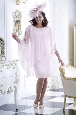 Pearl Pink Chiffon Plus size Mother of the bride dress with Hand beading Overlay NMO-657