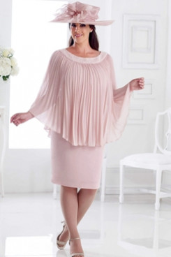 Pearl Pink Plus size Mother of the bride dress with Crumple Overlay Hand beading Neck NMO-658