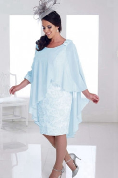 Plus size Aqua Chiffon Knee-Length  Mother of the bride dress NMO-659