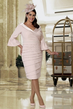 Plus size Mother of the bride dress Blushing Pink Knee-Length Dresses NMO-661