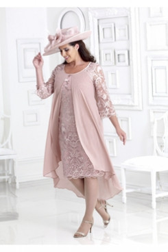 Plus size Mother of the bride Lace dress with chiffon Overlay Pink NMO-662