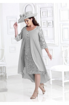 Gray Plus size Mother of the bride lace dress with cover NMO-664