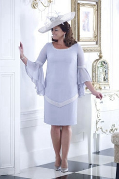 Sky blue Plus size Mother of the bride dress with Trumpet sleeves NMO-666