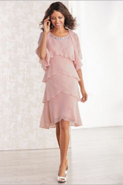 Comfortable Chiffon Layered Mother of the bride dresses with jacket Pink NMO-669