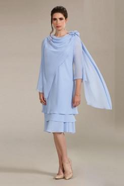 Mid-Calf  Mother of the bride dresses Sky blue Chiffon Short Dresses NMO-671