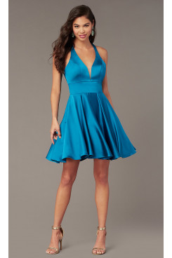 Ocean Blue Under $100 V-neck Homecoming Party Dress,Above Knee Dreses with Pockets sd-029-1