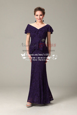 Off-the-shoulder  eggplant lace long dress mother of the bride wear cms-090
