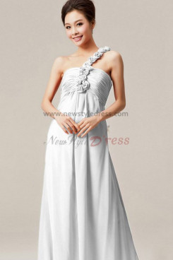 off-white Chiffon One Shoulder Chest With Pleats prom dress Sashes with flower np-0142