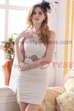 off-white One Shoulder Sheath Above Knee New Arrival Cocktail Dresses nm-0223