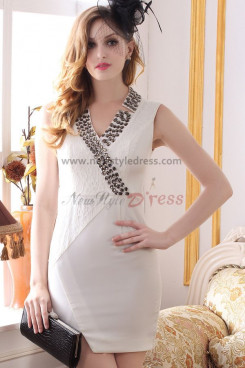 off-white Sheath Sexy Above Knee Crystal Cocktail Dresses nm-0219