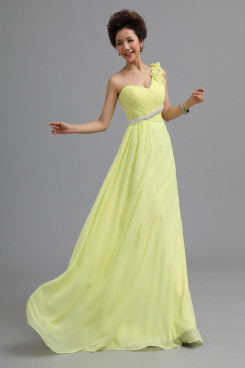 One Shoulder Chiffon Prom Dresses Yellow Under 100 nm-0171